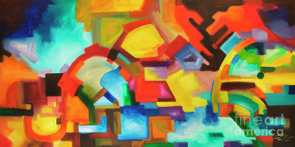 Painting - Abstract Art Modern Art Original Painting Market Day By Sally Trace by Sally Trace