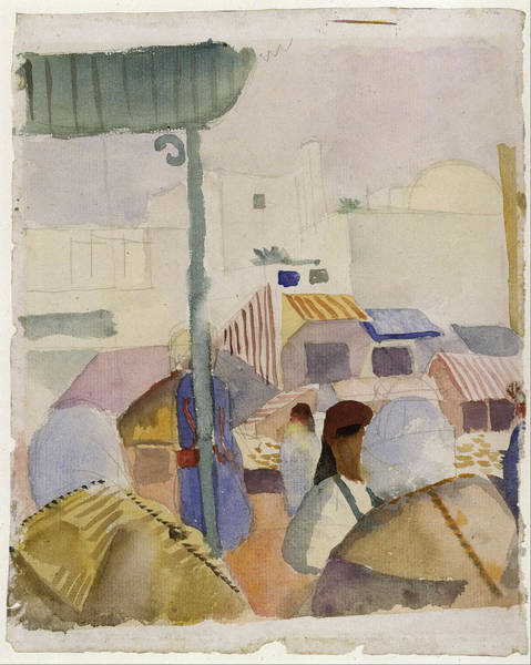 Impressionistic Landscape Drawing - Market In Tunis II by August Macke