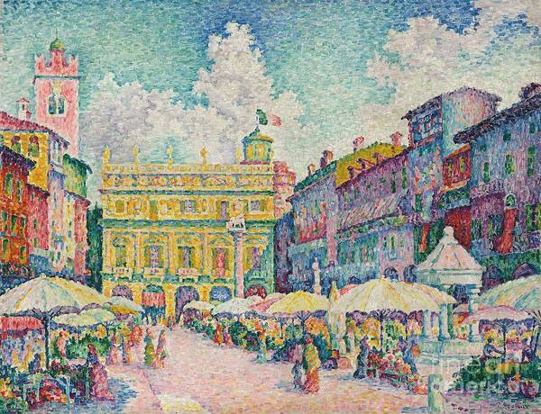 Town Square Wall Art - Painting - Market Of Verona by Paul Signac
