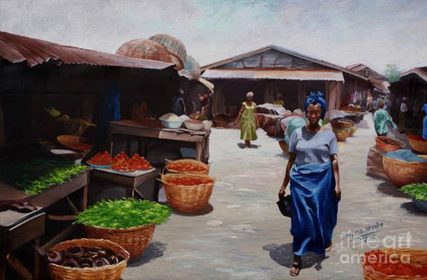 Nigeria Painting - Market Scene by Sony Ejiro Akpotor