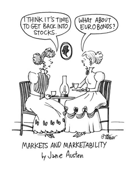 Parody Drawing - Markets And Marketability By Jane Austen by Peter Steiner