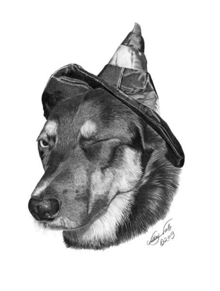 German Shepherd Drawing - Marlee In Witch's Hat -021 by Abbey Noelle