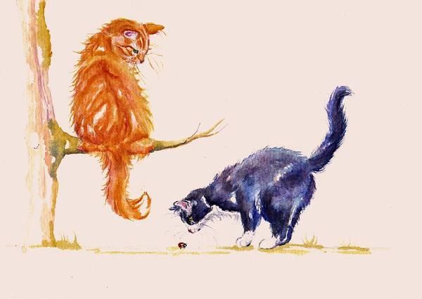 Tuxedo Cat Painting - Marmalade And Tuxedo by Debra Hall