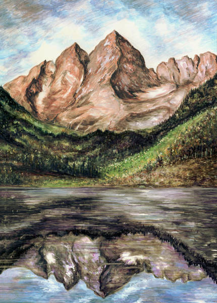 Painting - Maroon Bells Colorado - Landscape Painting by Peter Potter