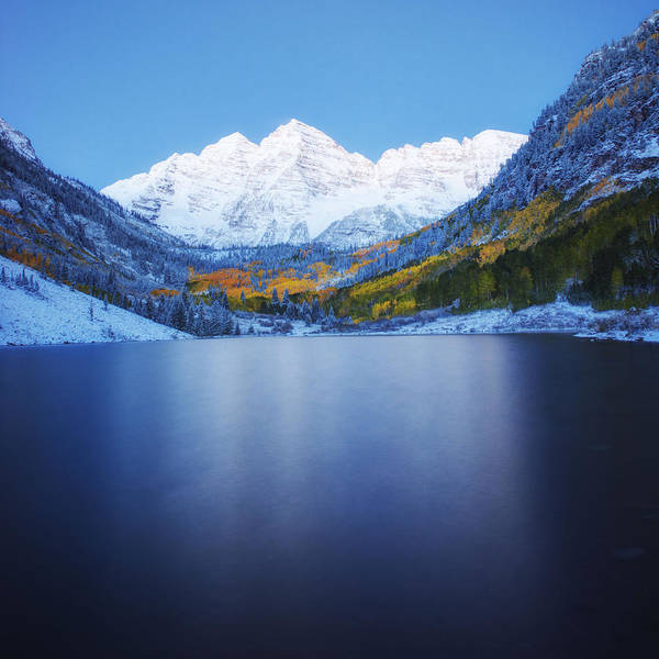Photograph - Maroon Bells Dawn by OLena Art - Lena Owens