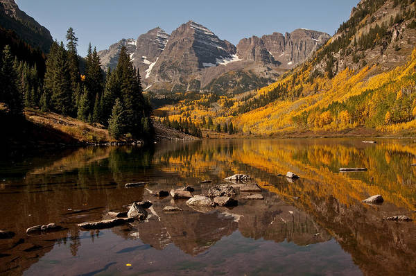 Photograph - Maroon Bells Reflection by Lee Kirchhevel