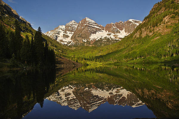 Photograph - Maroon Bells Reflection Summer by Lee Kirchhevel