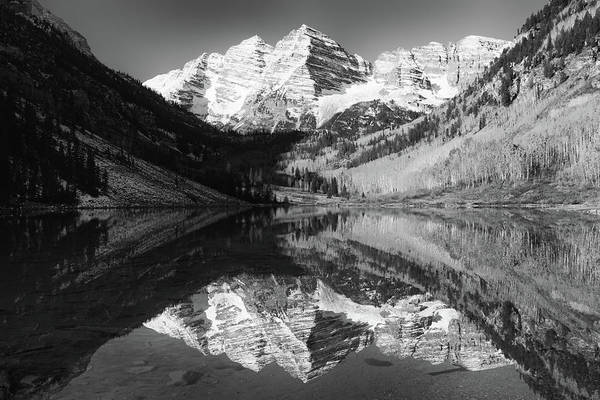 Maroon Bells Reflections - Black And White Art Print