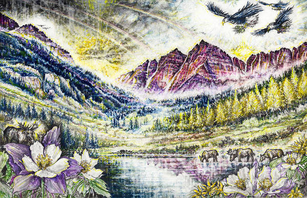 Elk Mountain Drawing - Maroon Bells  by Scott and Dixie Wiley
