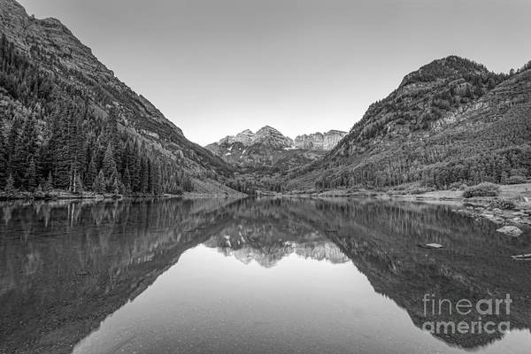 Maroon Bells Photograph - Maroon Lake Bw by Michael Ver Sprill