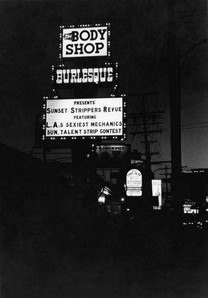 Revue Photograph - Marquee On Sunset Blvd by Underwood Archives