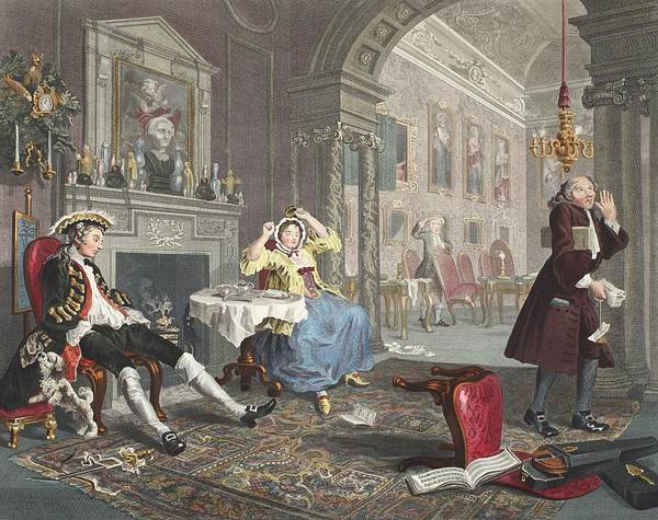 Morality Wall Art - Drawing - Marriage A La Mode, Plate II, The Tete by William Hogarth