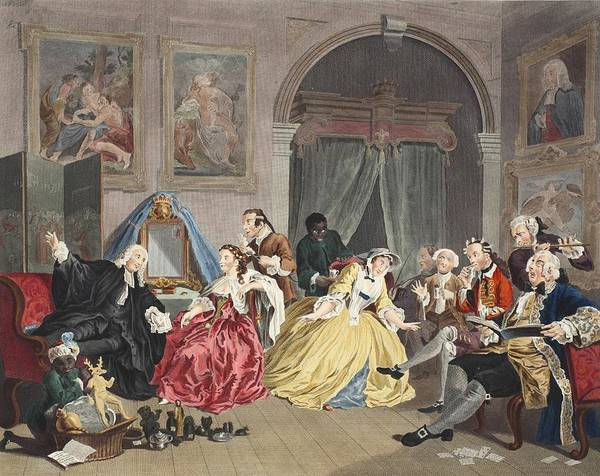 Morality Wall Art - Drawing - Marriage A La Mode, Plate Iv, The by William Hogarth