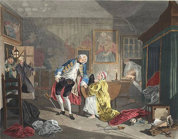 Morality Wall Art - Drawing - Marriage A La Mode, Plate V, The by William Hogarth