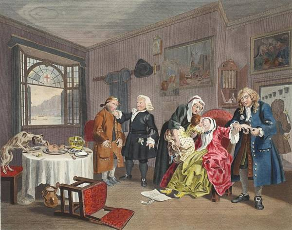 Morality Wall Art - Drawing - Marriage A La Mode, Plate Vi, The Ladys by William Hogarth
