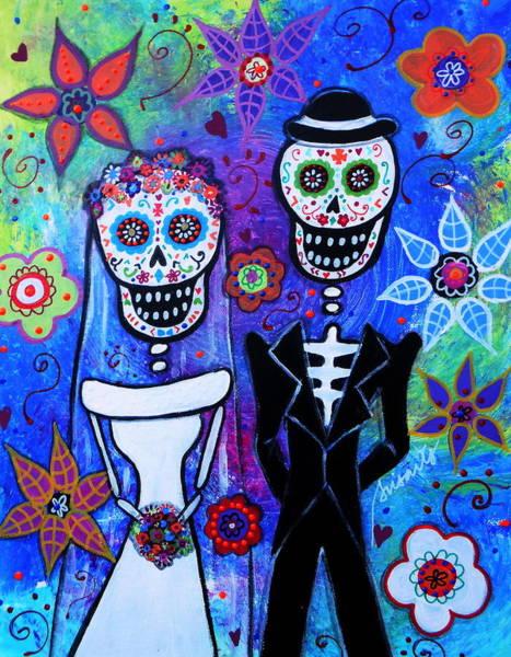 Wall Art - Painting - Married Couple Dia De Los Muertos by Pristine Cartera Turkus