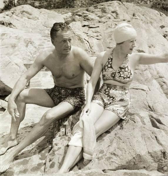 Newport News Photograph - Married Couple Wearing Swimwear by John Rawlings