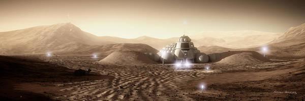 Space Exploration Digital Art - Mars Habitat - Valley End by Bryan Versteeg
