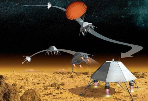 Reconnaissance Photograph - Mars Hopper Spacecraft by Claus Lunau
