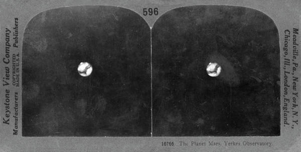 Stereogram Photograph - Mars In 1909 by Us Naval Observatory/science Photo Library