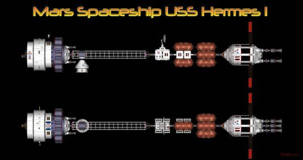 Digital Art - Mars Spaceship Hermes1 by David Robinson