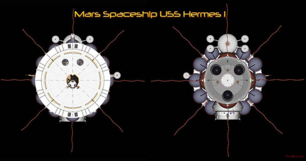 Digital Art - Mars Spaceship Hermes1 Front And Rear by David Robinson