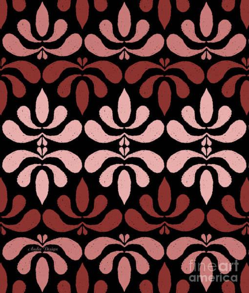 Digital Art - Marsala Petals On Black 1 by Andee Design