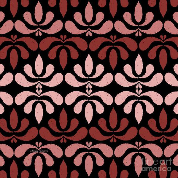 Digital Art - Marsala Petals On Black 2 by Andee Design