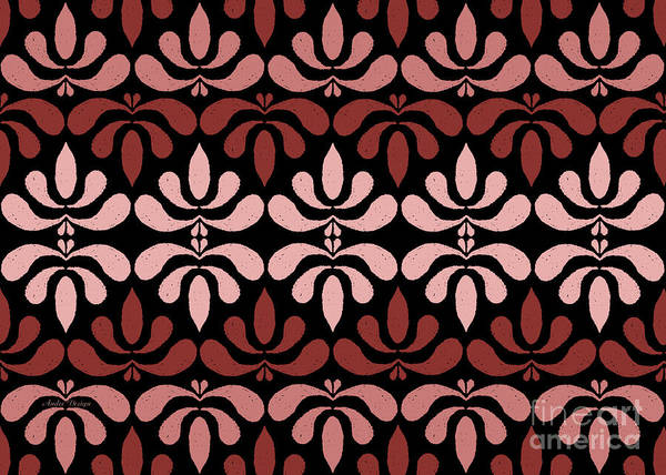 Digital Art - Marsala Petals On Black 3 by Andee Design