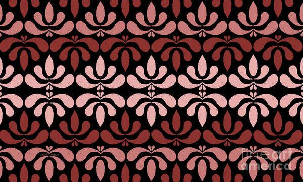 Digital Art - Marsala Petals On Black 4 by Andee Design