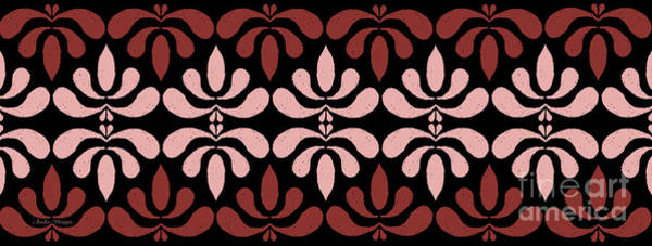 Digital Art - Marsala Petals On Black 5 by Andee Design