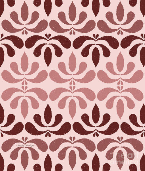 Digital Art - Marsala Petals On Pink 1 by Andee Design