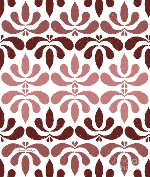Digital Art - Marsala Petals On White 1 by Andee Design