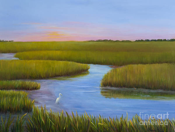 Egrets Wall Art - Painting - Marsh At Low Water by Audrey McLeod