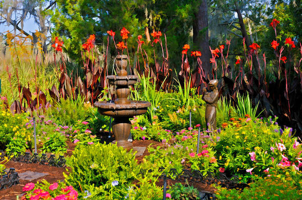 Photograph - Marsh Garden Fountain And Statute by Ginger Wakem