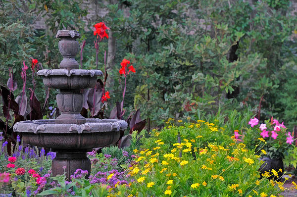 Photograph - Garden Fountain And Flowers by Ginger Wakem