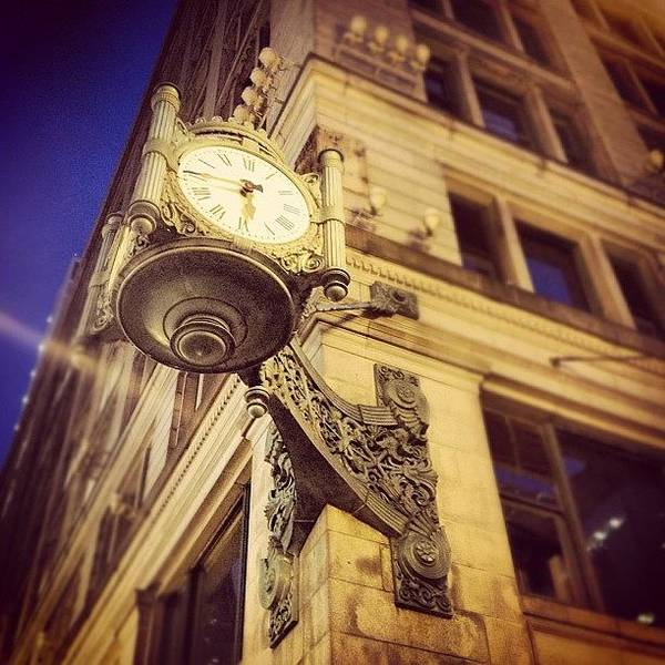 Wall Art - Photograph - Marshall Field's Clock- Chicago by Mike Maher