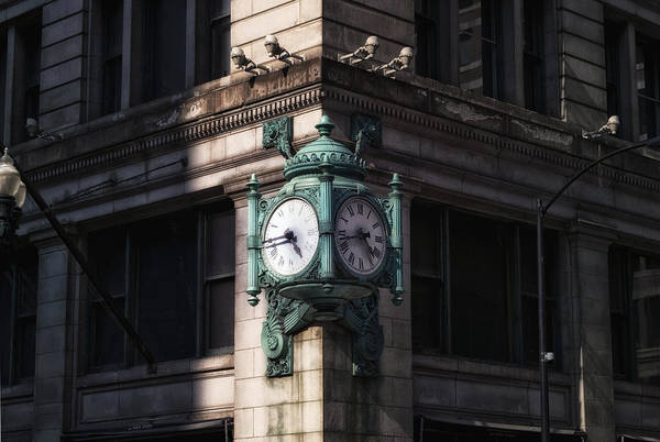 Wall Art - Photograph - Marshall Fields Clock Two Sides by Thomas Woolworth