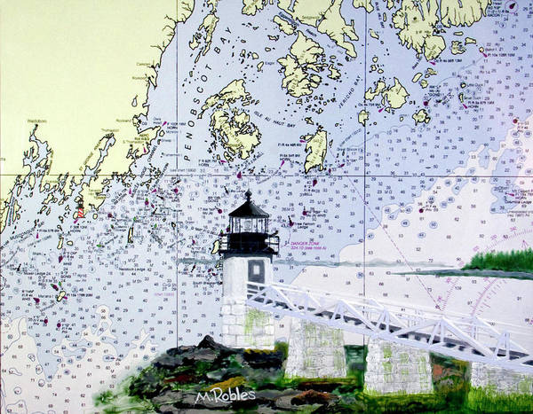 Noaa Chart Wall Art - Painting - Marshall Point Lighthouse by Mike Robles