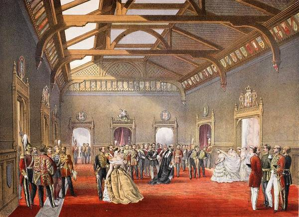 Royal Court Drawing - Marshalling The Procession Of The Bride by English School