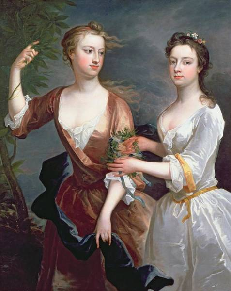 Laurel Wall Art - Photograph - Martha And Teresa Blount, 1716 Oil On Canvas by Charles Jervas