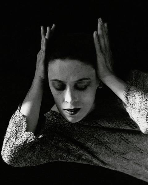 Lying Down Photograph - Martha Graham Wearing A Crocheted Dress by Imogen Cunningham
