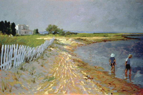White Picket Fence Painting - Marthas Vineyard  by Sarah Butterfield