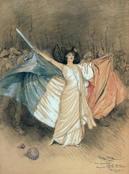 Marching Painting - Marthe Chenal Singing La Marseillaise by Georges Bertin Scott