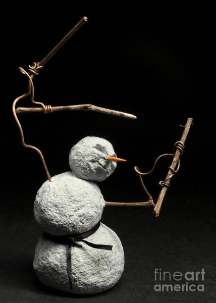 Wall Art - Mixed Media - Martial Arts Warrior Snowman Christmas Card by Adam Long