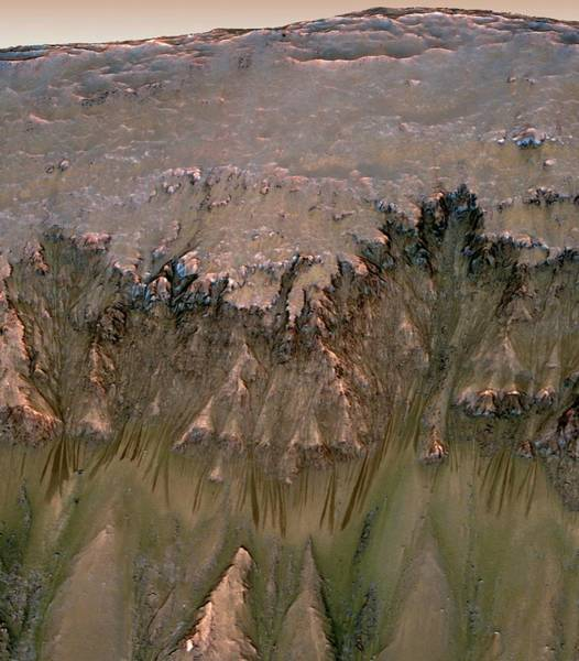 Gully Photograph - Martian Flows by Nasa/science Photo Library