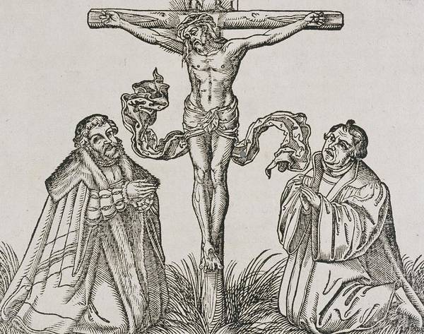 Woodcut Wall Art - Drawing - Martin Luther And Frederick IIi Of Saxony Kneeling Before Christ On The Cross by German School