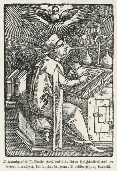 Wall Art - Drawing - Martin Luther Depicted While by Mary Evans Picture Library
