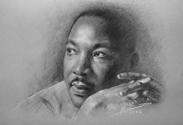 Portraits Drawing - Martin Luther King Jr by Ylli Haruni