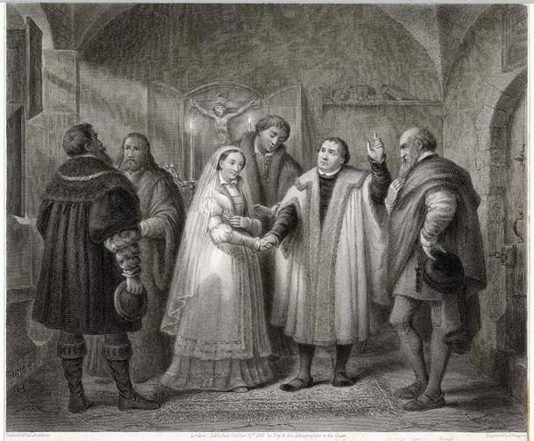 Wall Art - Drawing - Martin Luther Rejecting The Celibacy by Mary Evans Picture Library